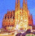 Sagrada Familia At Night by Jane Small