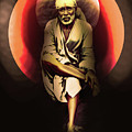 Saibaba On Stone With Sun by Saibaba Shirdi