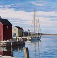 Sail Boat At Rockport by Bruce Dumas