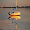 Sail Boat In Roanoke Sound 1x2 Ratio Photo Painting Img_3969 by Greg Kluempers
