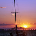 Sailboat And The Bridge At Sunrise by Vicki Jauron