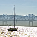 Sailboat And The Tappan Zee Bridge by Bill Cannon
