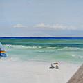 Sailboat At Blue Mountain Beach by John Terry