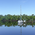 Sailboat At Dock Florida by Edward Fielding