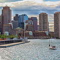 Sailboat In Front Of The Boston Financial District by Brian MacLean