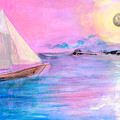 Sailboat In Pink Moonlight  by Robin Maria Pedrero