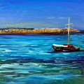 Sailboat Off Karpathos Greece Greek Islands Sailing by Katy Hawk