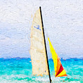 Sailboat On Beach - Painterly V3 by Les Palenik