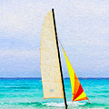 Sailboat - Painterly V2 by Les Palenik