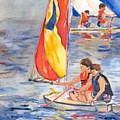 Sailboat Painting In Watercolor by Maria's Watercolor