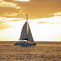 Sailboat Sailing Off Of Anse Chastanet At Sunset Saint Lucia Caribbean  by Toby McGuire