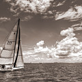 Sailboat Sailing On The Charleston Harbor Sepia Beneteau 40.7 by Dustin K Ryan