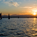 Sailboat Sillohette Sunset by Tom Dowd
