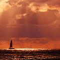 Sailboat Sun Rays by Lawrence S Richardson Jr