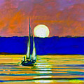Sailboat With Moonlight by Kip Decker
