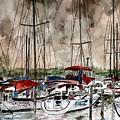 Sailboats At Night by Derek Mccrea