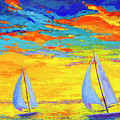 Sailboats At Sunset, Colorful Landscape, Impressionistic Art by Patricia Awapara