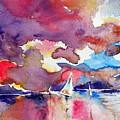Sailboats At Sunset by Kovacs Anna Brigitta