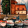Sailboats In The Harbor by Elizabeth Robinette Tyndall
