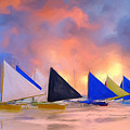Sailboats On Boracay Island by Dominic Piperata
