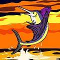 Sailfish Jumping Retro by Aloysius Patrimonio