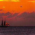 Sailing Boat At Sunset by Claudia M Photography