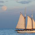 Sailing Ship With Moon by Abhi Ganju