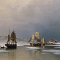 Sailing Ships On Frozen Fjord by Reinholdt Boll