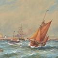 Sailing Vessels Off A Harbour Entrance by MotionAge Designs
