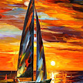 Sailing With The Sun - Palette Knife Oil Painting On Canvas By Leonid Afremov by Leonid Afremov