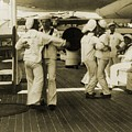 Sailors Aboard The Uss Olympia Waltzing by Everett