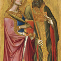 Saint Catherine And A Bishop Saint Possibly Saint Regulus by Angelo Puccinelli