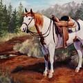 Saint Quincy Paint Horse Portrait Painting by Kim Corpany
