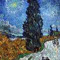 Saint-remy Road With Cypress And Star by Vincent Van Gogh