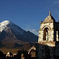 Sajama Volcano And Lagunas Church Belfry Bolivia by James Brunker