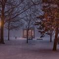 Salem Bandstand As Snow Falls by Jeff Folger