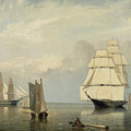 Salem Harbor By Fitz Henry Lane 1853 by Fitz Henry Lane