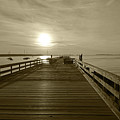 Salem Willows Pier At Sunrise Sepia by Toby McGuire
