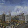 Salt Lake City Temple Square Nineteen Twelve Right Panel by Jeff Brimley