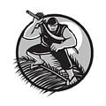 Samoan Ninja On Top Of Coconut Front Circle by Aloysius Patrimonio