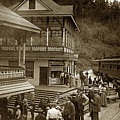 Sampling Shasta Water With Some Passengers That Disembark The Train 1906 by California Views Archives Mr Pat Hathaway Archives