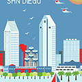 San Diego California Vertical Skyline by Karen Young