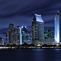 San Diego Skyline At Night by Larry Marshall