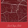 San Diego State Street Map - San Diego State University San Dieg by Jurq Studio