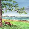 San Francisco Bay Shore Watercolor Landscape by Irina Sztukowski