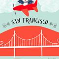 San Francisco California Vertical Scene - Bird In Plane Over San Francisco by Karen Young