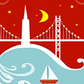 San Francisco California Vertical Scene - East Bay Bridge And Boat by Karen Young