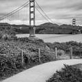 San Francisco Golden Gate Bridge - Black And White Square Art by Gregory Ballos