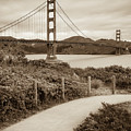 San Francisco Golden Gate Bridge - Sepia Square Art by Gregory Ballos