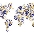 San Francisco State University Colors Swirl Map Of The World Atl by Jurq Studio